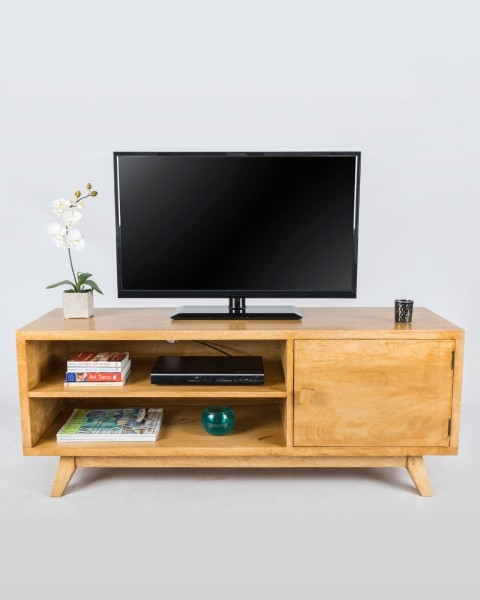 Great Popular Mango Wood TV Stands Intended For Retro Wooden Tv Stand With Shelf 100 Solid Mango Wood Oak Shade (Image 23 of 50)