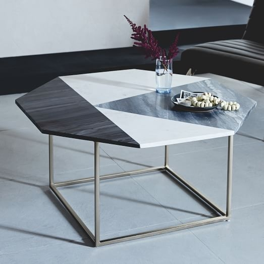 Great Popular Marble Coffee Tables Pertaining To Marquetry Marble Coffee Table West Elm (View 47 of 50)