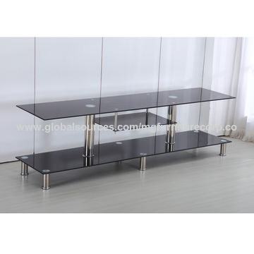 Great Popular Modern Glass TV Stands Pertaining To China Modern Glass Tv Stand With Stainless Steel Tubes On Global (Photo 50 of 50)