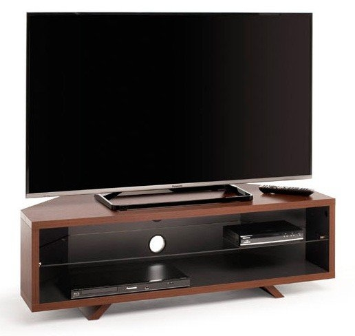 Great Popular Walnut Corner TV Stands Regarding Dual Corner Tv Stand For Up To 55 Tvs Walnut And Satin Grey (Image 26 of 50)