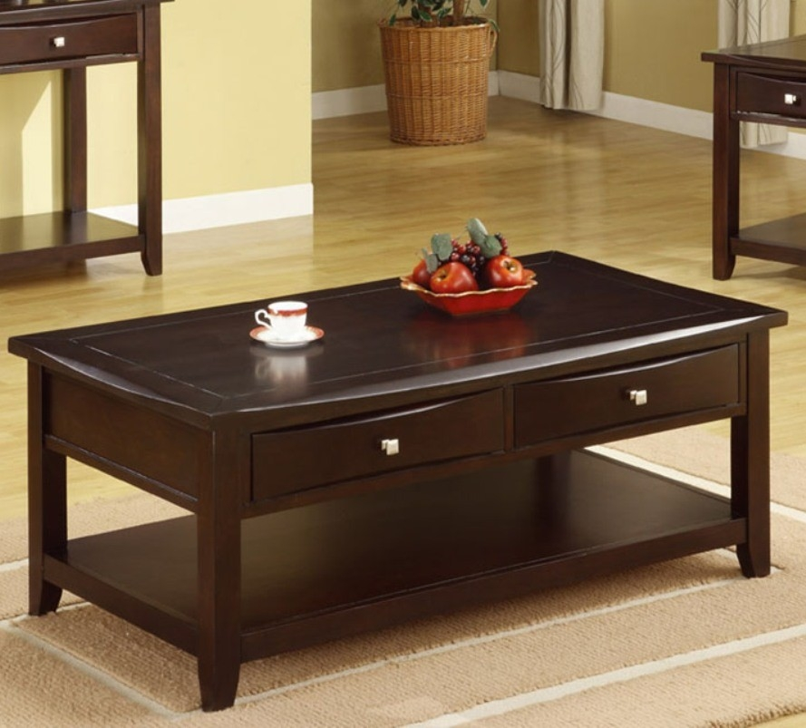 Great Preferred Dark Brown Coffee Tables Inside Poundex F6221 Rich Dark Brown Coffee Table With Two Drawers And Shelf (View 10 of 50)