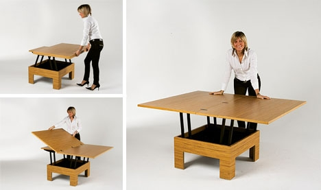 Great Preferred Desk Coffee Tables Pertaining To Simply Convertible 5 Dual Mode Glass Wood Metal Tables (Image 18 of 50)