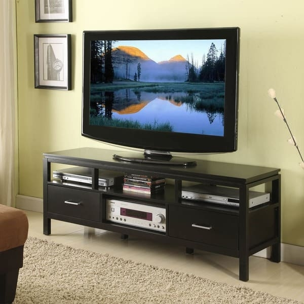 Great Preferred Modern Plasma TV Stands Throughout Linon Taylor Modern Plasma Tv Stand In Jet Black Free Shipping (View 11 of 50)