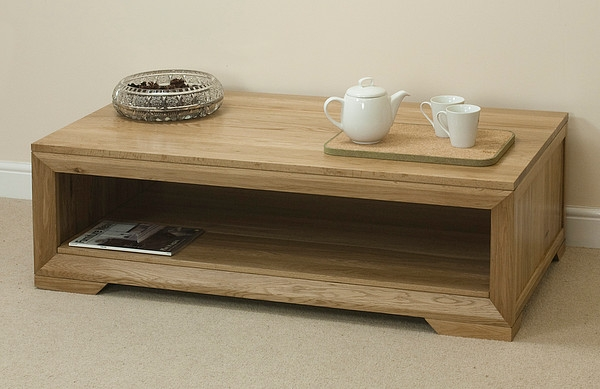 Great Preferred Solid Oak Coffee Tables With Regard To Bevel Natural Solid Oak Coffee Table Chattags (View 25 of 50)