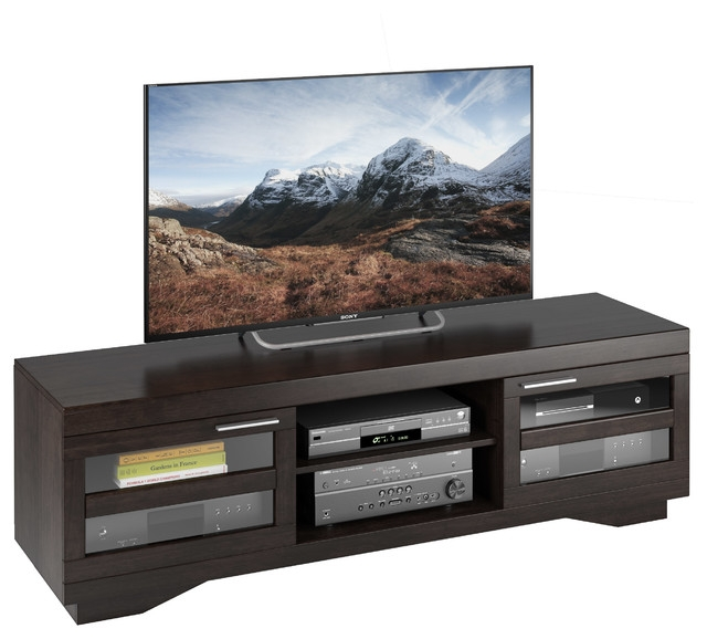 Great Preferred Sonax TV Stands Pertaining To Granville 66 Mocha Black Wood Veneer Tv Bench Transitional (View 37 of 50)