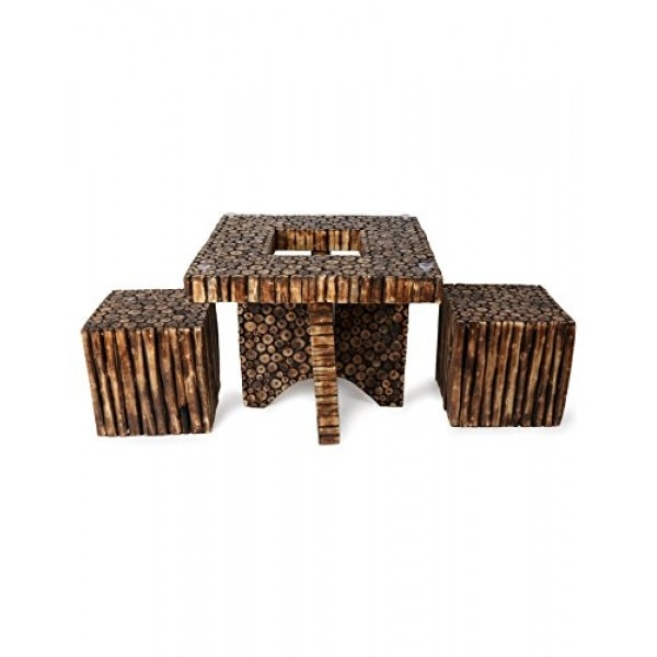 Great Preferred Square Shaped Coffee Tables Within Wooden Antique Square Shaped Coffee Table With 2 Stool Sizelxbxh (View 43 of 50)