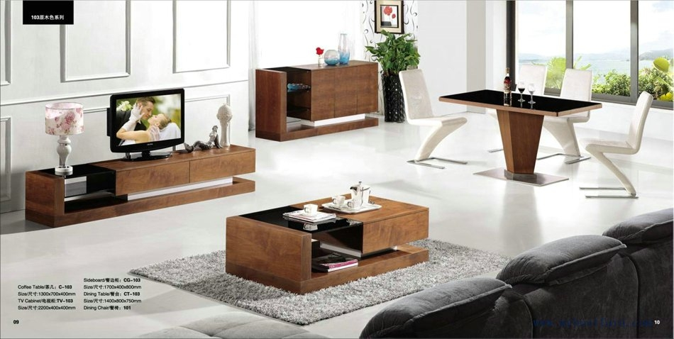 Great Preferred TV Cabinets And Coffee Table Sets With Ashtree Wood Living Room Furniture Set Total 4 Piece Xh (Image 21 of 50)