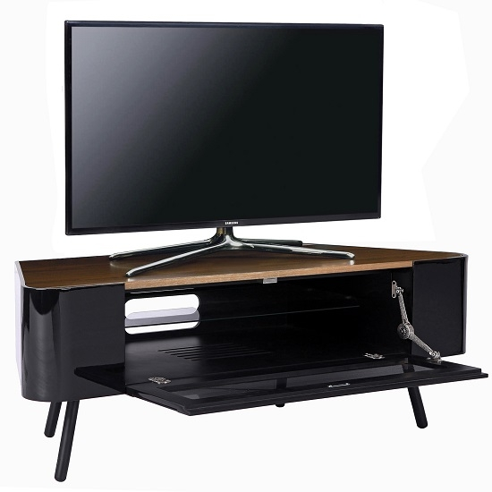 Great Preferred Walnut Corner TV Stands Inside Norvik Corner Tv Stand In Walnut And Black Gloss With Glass (Image 27 of 50)