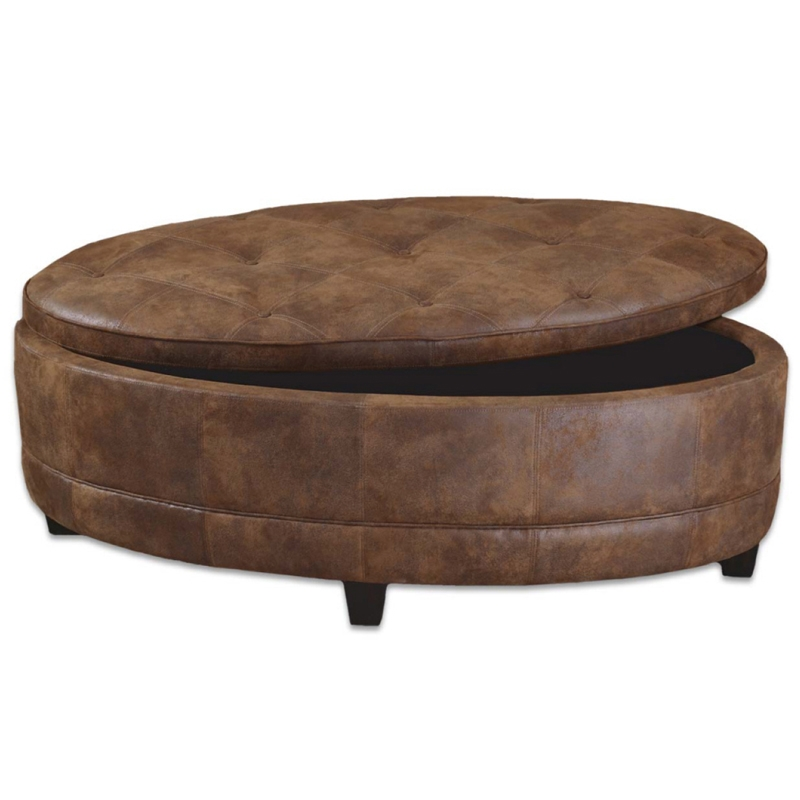 Great Premium Brown Leather Ottoman Coffee Tables With Regard To Contemporary Genuine Leather Storage Bench Coffee Table Ebay (View 38 of 50)