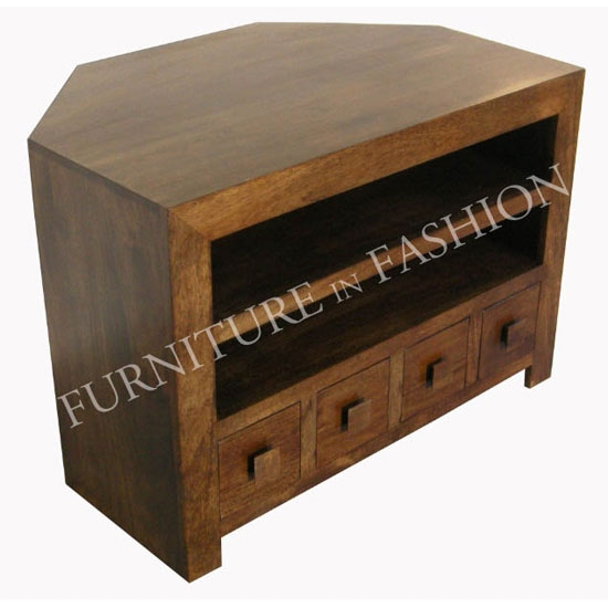 Great Premium Dark Brown Corner TV Stands Intended For Dakota Corner Tv Unit With Drawers In Dark Finishls20n Tfc (View 21 of 50)