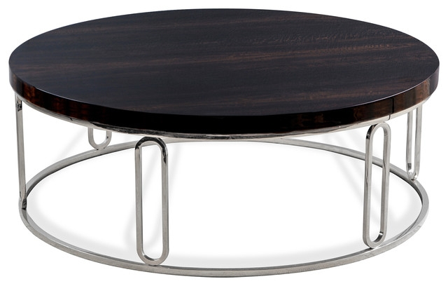 Great Premium Dark Wood Round Coffee Tables With Regard To Barcelona Polished Eucalyptus Wood Round Silver Coffee Table (View 5 of 50)