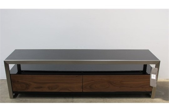 Great Premium Dwell TV Stands Within Nova Tv Stand Large Black Gloss Lacquer Walnut Veneer Brushed (Photo 32 of 50)