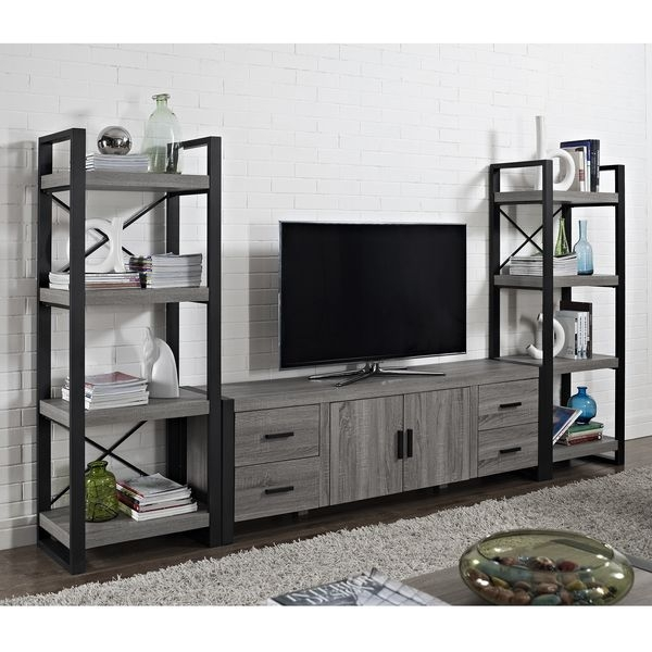Great Premium Grey Wood TV Stands Throughout Tv Stands Awesome Tv Stand With Media Towers 2017 Picture Tower (Image 31 of 50)