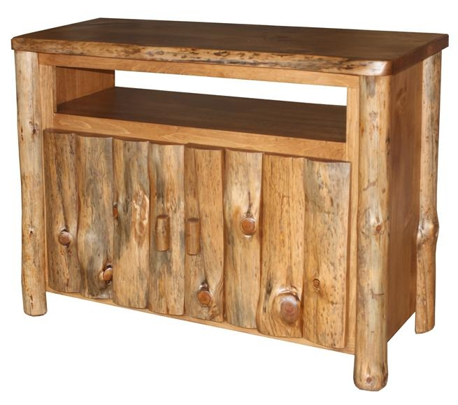 Great Premium Pine Wood TV Stands Inside Amish Pine Log Furniture Tv Stand (Image 22 of 50)