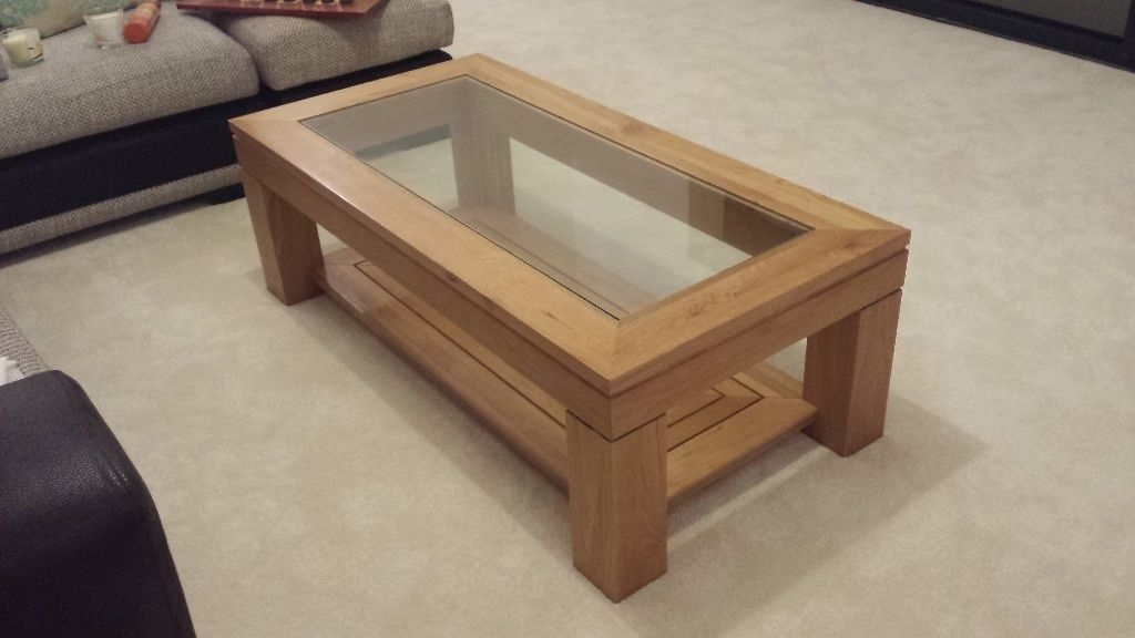 Great Premium Solid Oak Coffee Tables Regarding Extraordinary Oak Coffee Table With Glass Top About Small Home (Photo 12 of 50)