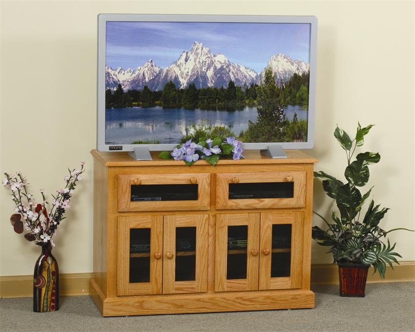 Great Premium Square TV Stands With Regard To Hdtv Square Shaker Tv Stand With Smoked Glass Doors (View 37 of 50)
