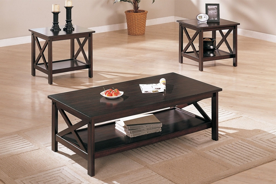 Great Premium TV Stand Coffee Table Sets Throughout X Accent Dark Brown Finish 3 Piece Coffee End Side Table Set (View 39 of 50)