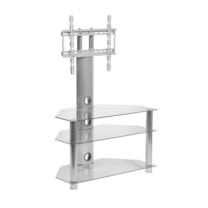 Great Series Of Corner TV Stands With Bracket With Clear Glass Cantilever Stand For Up To 50 Inch Tv Mmt (Image 18 of 50)