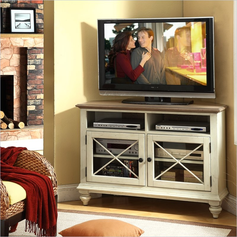 Great Series Of Cream Color TV Stands Within Traditional Style Living Room With White Corner Tv Stand Finished (Image 33 of 50)