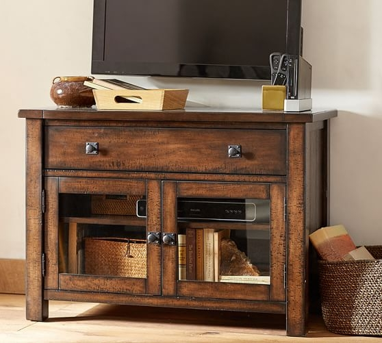 Great Series Of Mahogany TV Cabinets Intended For Benchwright Tv Stand Small Pottery Barn (View 7 of 50)