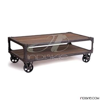 Great Series Of Rustic Coffee Table With Wheels Regarding Vintage Industrial Furniture Iron Wood Coffee Table With Wheel (Image 23 of 50)