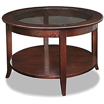 Great Series Of Solid Round Coffee Tables With Regard To Amazon Leick Solid Wood Round Glass Top Coffee Table (Image 20 of 40)