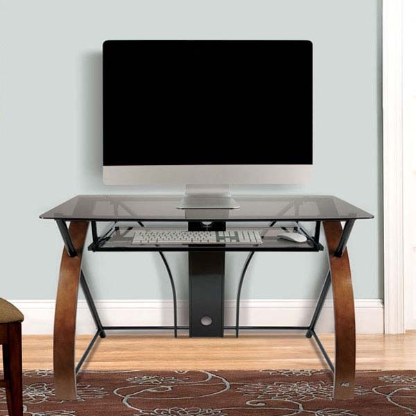 Great Series Of TV Stands And Computer Desk Combo For Bello Glass Computer Desk With Curved Wood Sides Espresso Cd (View 9 of 50)