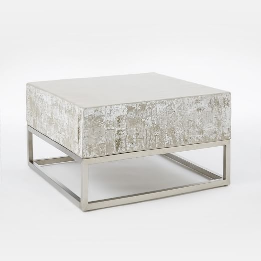 Great Series Of White And Chrome Coffee Tables Throughout Concrete Chrome Coffee Table West Elm (Image 29 of 50)