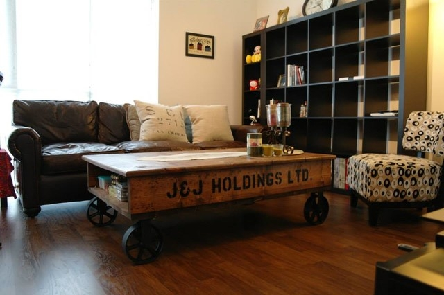 Great Top Coffee Tables With Wheels Intended For Pretty Industrial Coffee Table With Wheels On Industrial Style (View 31 of 40)