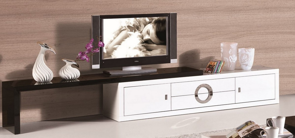 Great Top Contemporary White TV Stands Throughout 2018 Modern White And Black Tv Stand (View 42 of 50)