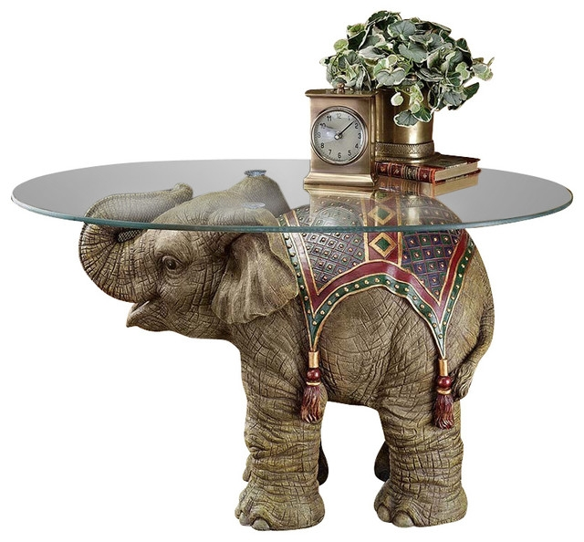Great Top Elephant Coffee Tables With Glass Top Throughout Jaipur Elephant Festival Table Asian Side Tables And End (Image 24 of 40)