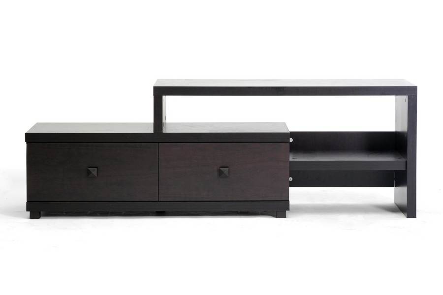 Great Top Modern Wood TV Stands Pertaining To Baxton Studio Blythe Modern Asymmetrical Tv Stand (Image 22 of 50)