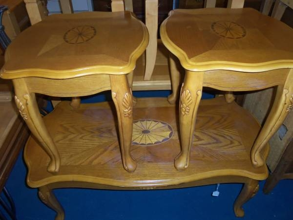 Great Top Oak Coffee Table Sets With Oak Coffee Table And 2 End Table Set The Jackpot New Used (Image 24 of 50)