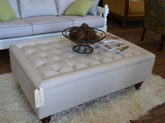 Great Top Round Upholstered Coffee Tables Inside Round Tufted Ottoman Coffee Table (Image 19 of 40)