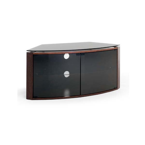 Great Top Smoked Glass TV Stands With Regard To Techlink Bench Corner 55 Inch Tv Stand Dark Oak With Smoked Glass (Image 25 of 50)