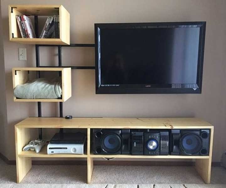 Great Trendy Bookshelf And TV Stands With 50 Creative Diy Tv Stand Ideas For Your Room Interior Diy (Image 19 of 50)