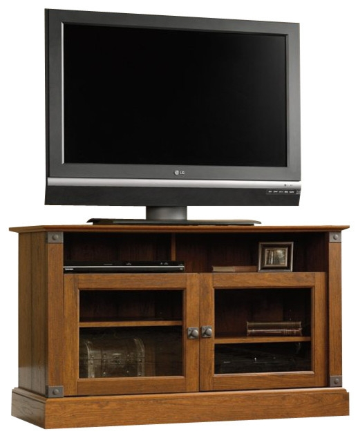Great Trendy Cherry TV Stands Within Sauder Carson Forge Panel Tv Stand In Washington Cherry Modern (Image 26 of 50)