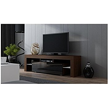 Great Trendy Contemporary TV Cabinets For Flat Screens Throughout Amazon Tv Stand Milano 200 Black Body Modern Led Tv Cabinet (Image 26 of 50)