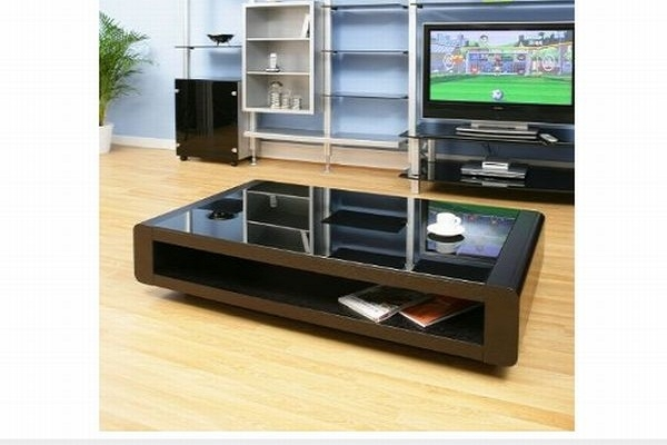 Great Trendy Glass And Black Coffee Tables Inside Luxury Glass Top Black Coffee Table On Home Decoration Ideas (View 35 of 50)
