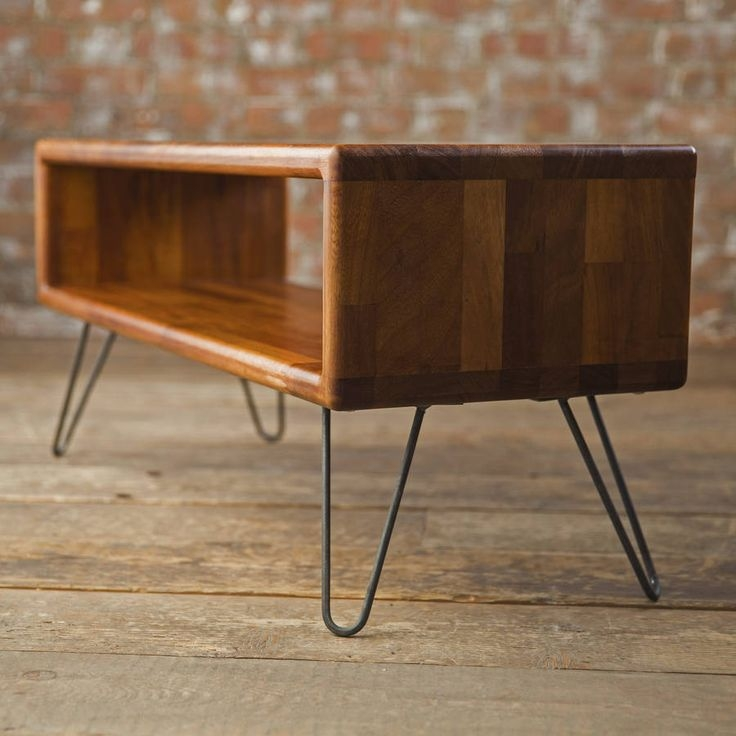 Great Trendy Hairpin Leg TV Stands In Iroko Midcentury Modern Hairpin Leg Tv Stand Tv Stands (Image 23 of 50)