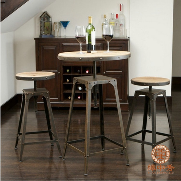 Great Trendy High Coffee Tables Within Retro Wood Old Wrought Iron Coffee Table Leisure Chairs Bar Chairs (View 31 of 50)