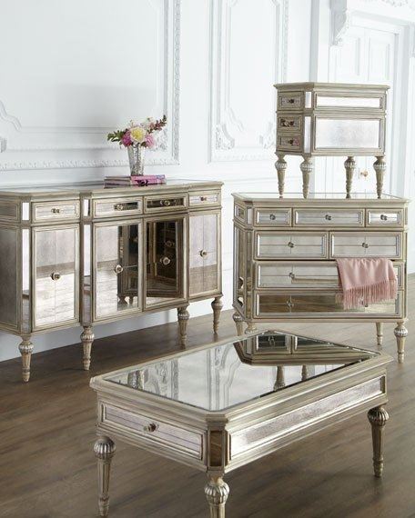 Great Trendy Mirrored Coffee Tables Pertaining To Dresden Mirrored Coffee Table (Image 21 of 50)