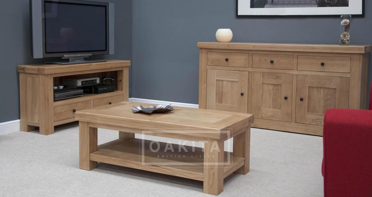 Great Trendy Oak Coffee Table With Shelf Pertaining To Vienna Light Oak Coffee Table Oak Coffee Tables Oak Furniture (Image 24 of 50)