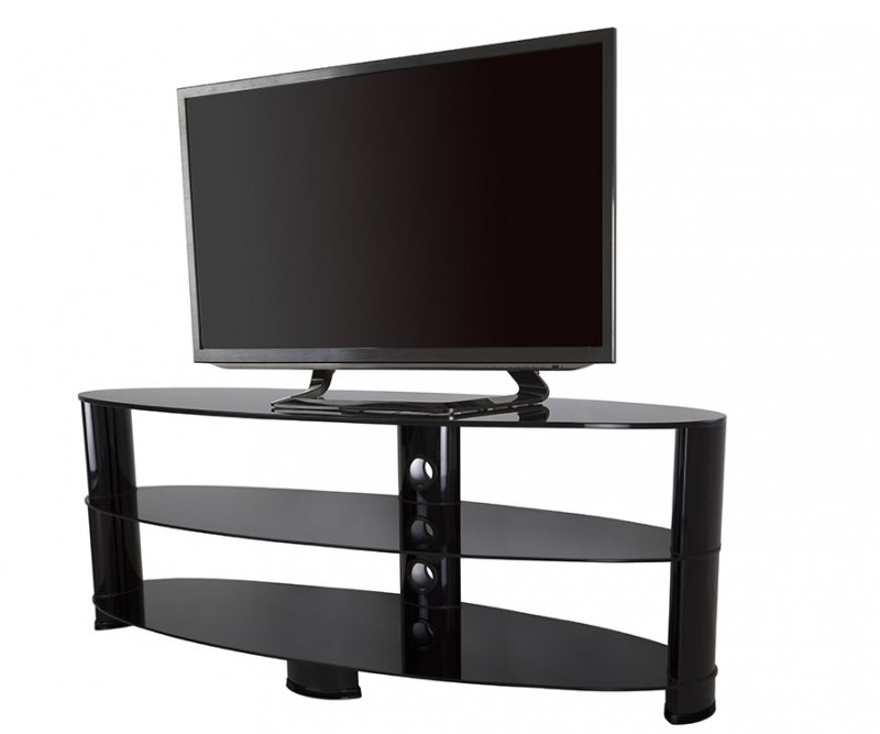 Great Trendy Oval Glass TV Stands Within Ovl1400bb Reflections Oval Glass Tv Stand Tv Stands (View 25 of 50)