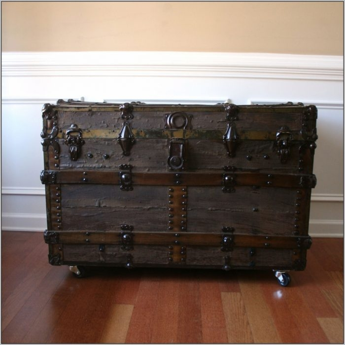 Great Trendy Steamer Trunk Stainless Steel Coffee Tables Throughout Steamer Trunk Coffee Table Stainless Steel Coffee Table Home (Image 24 of 50)
