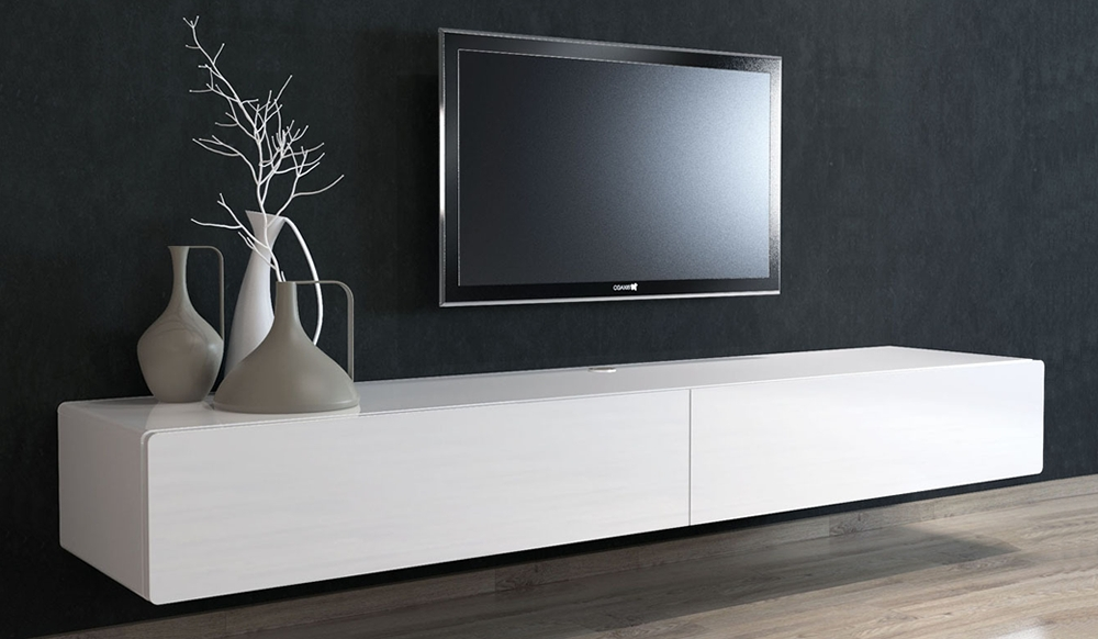 Great Trendy White Gloss TV Stands With Drawers For Tv Stands Contemporary White Floating Tv Stand Design Ideas (Image 20 of 50)