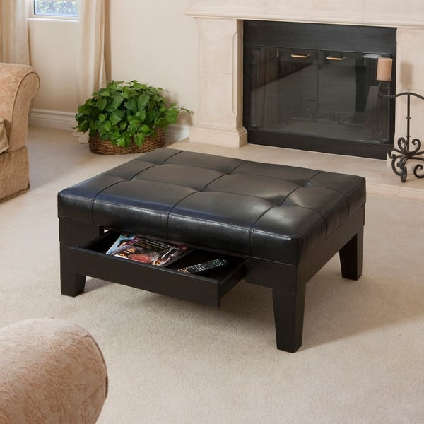 Great Unique Black Coffee Tables With Storage Pertaining To Living Room Ottoman Black Coffee Table Leather With Pull Out Tray (Image 22 of 40)