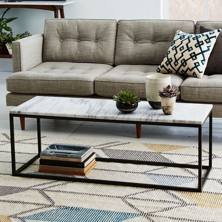 Great Unique Marble Coffee Tables With Box Frame Coffee Table Marbleantique Bronze West Elm (View 50 of 50)