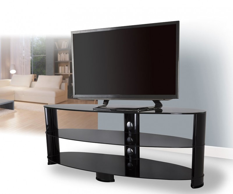 Great Unique Oval Glass TV Stands With Ovl1400bb Reflections Oval Glass Tv Stand Tv Stands (View 39 of 50)