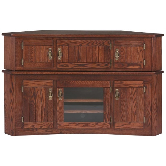 Great Unique Real Wood Corner TV Stands Inside Solid Oak Mission Corner Tv Stand Hi Boy 55 The Oak Furniture (Image 27 of 50)